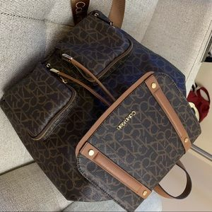 Calvin Klein Leather Backpack Purse
